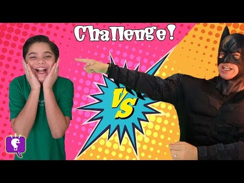 FIRE HOT CANDY CHALLENGE!! JOKER + BATMAN Food Contest with HobbyPig Family Fun HobbyKidsTV