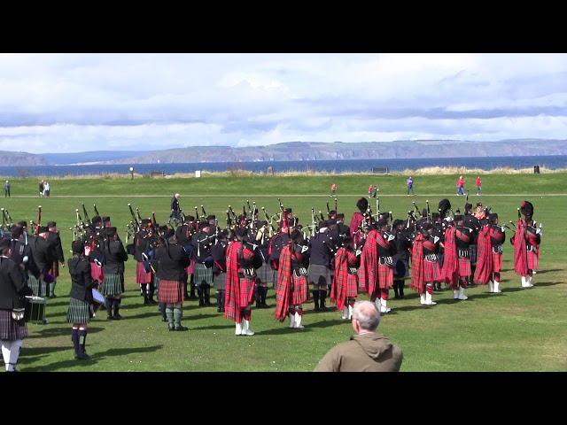 28th April 2018 Massed pipes and drums on the Links for Cantraybridge College fundraiser