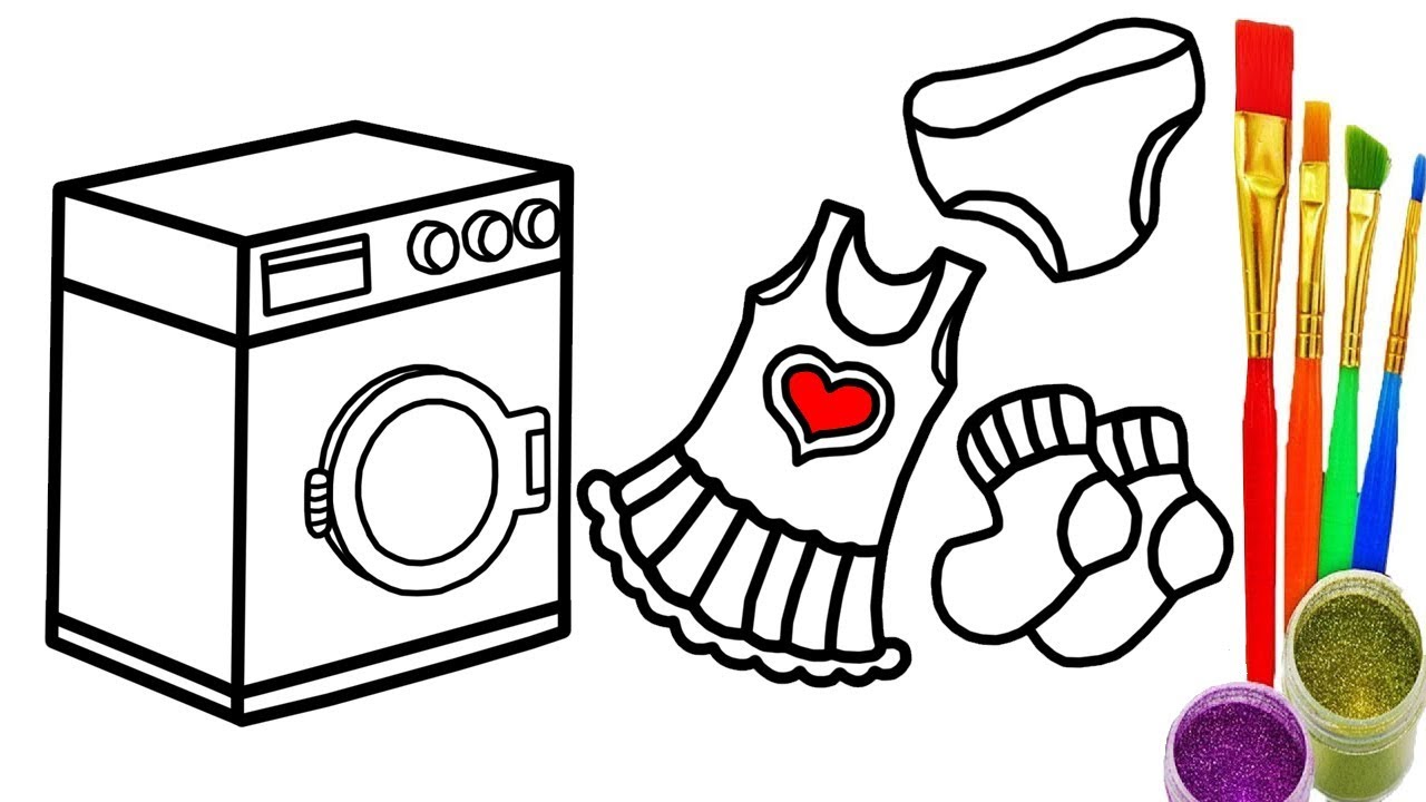 Washing Machine Drawing ~ Baby washing machine and clothes children coloring book