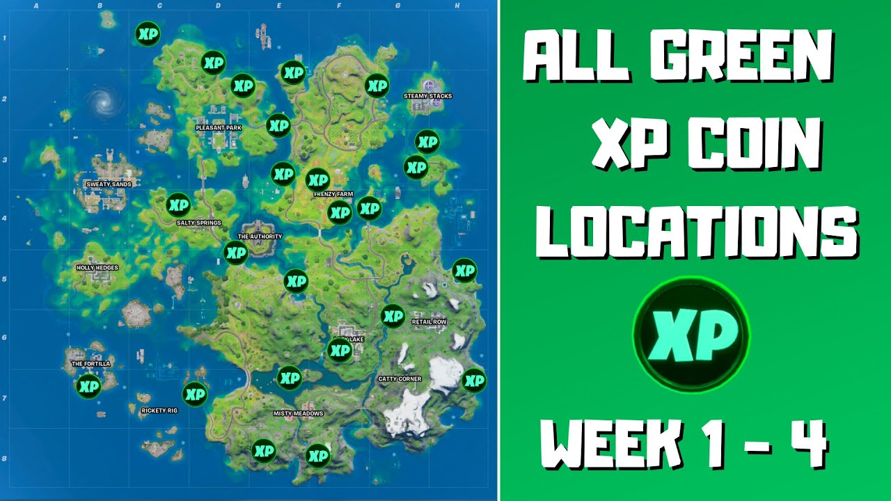 All 24 Green XP Coins Locations in Fortnite Week 1-4! - Fortnite Chapter 2 Season 3