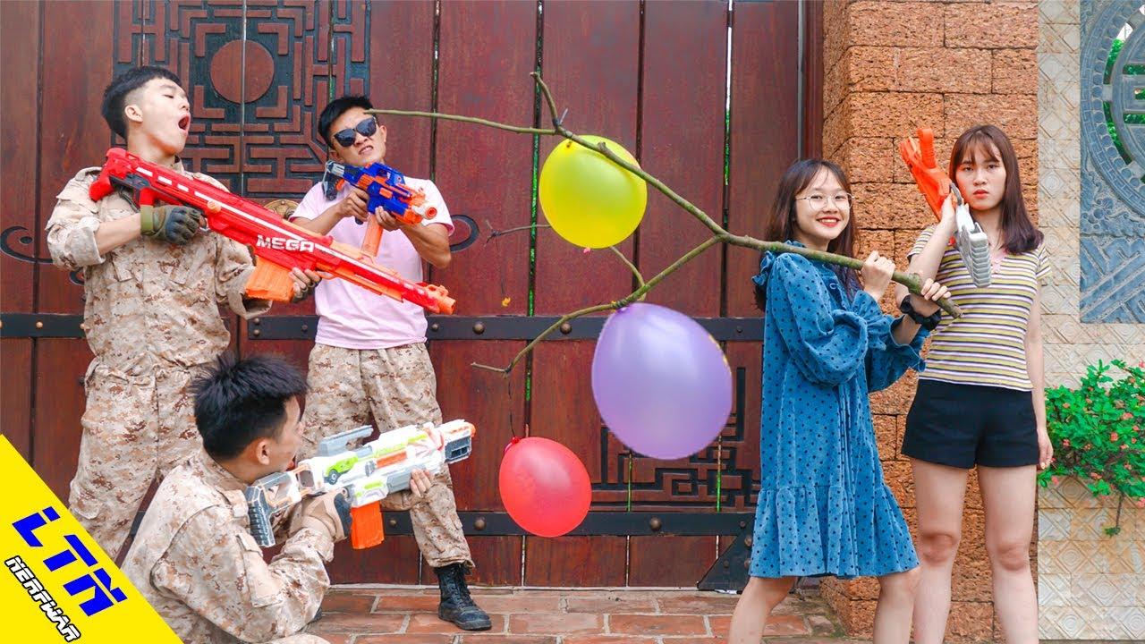LTN Nerf War : Two Sister SEAL & Delta Force T Nerf Guns Fight Criminal Group Hold Balloons Battle