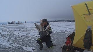 Рыбалка на Яузском водохранилище .Ночь на льду .