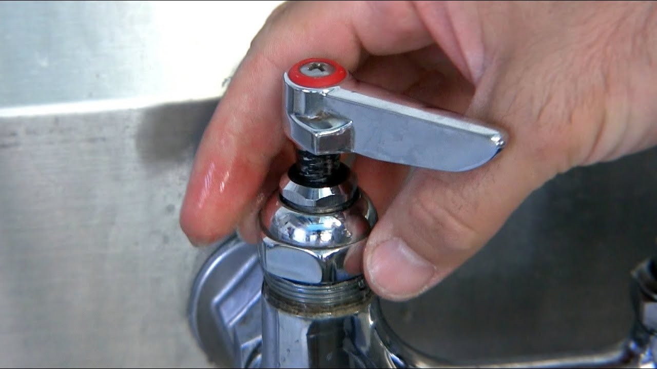 how to fix a leaking commercial wall mounted two valve faucet