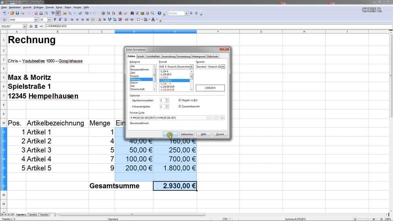 Einfache Rechnung Erstellen Mwst Mit Excel Oder Open Office Calc