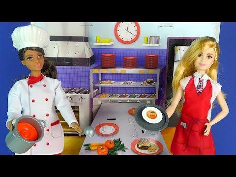 ОНИ БУДУТ РАБОТАТЬ В ШКОЛЕ? Куклы #Барби Шеф Повар и Официант Игрушки Для девочек