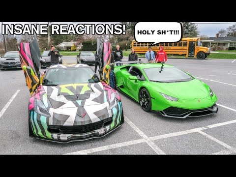 Driving My Lamborghini To High School Funny Supercar Reactions