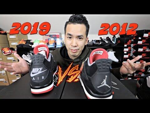 JORDAN 4 BRED 2012 VS 2019 NIKE AIR