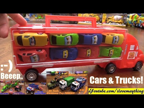 Kids' Toy Cars! Toy Cars and Trucks Playtime w/ Hulyan & Maya! Car Carrier, Garbage Truck and More!