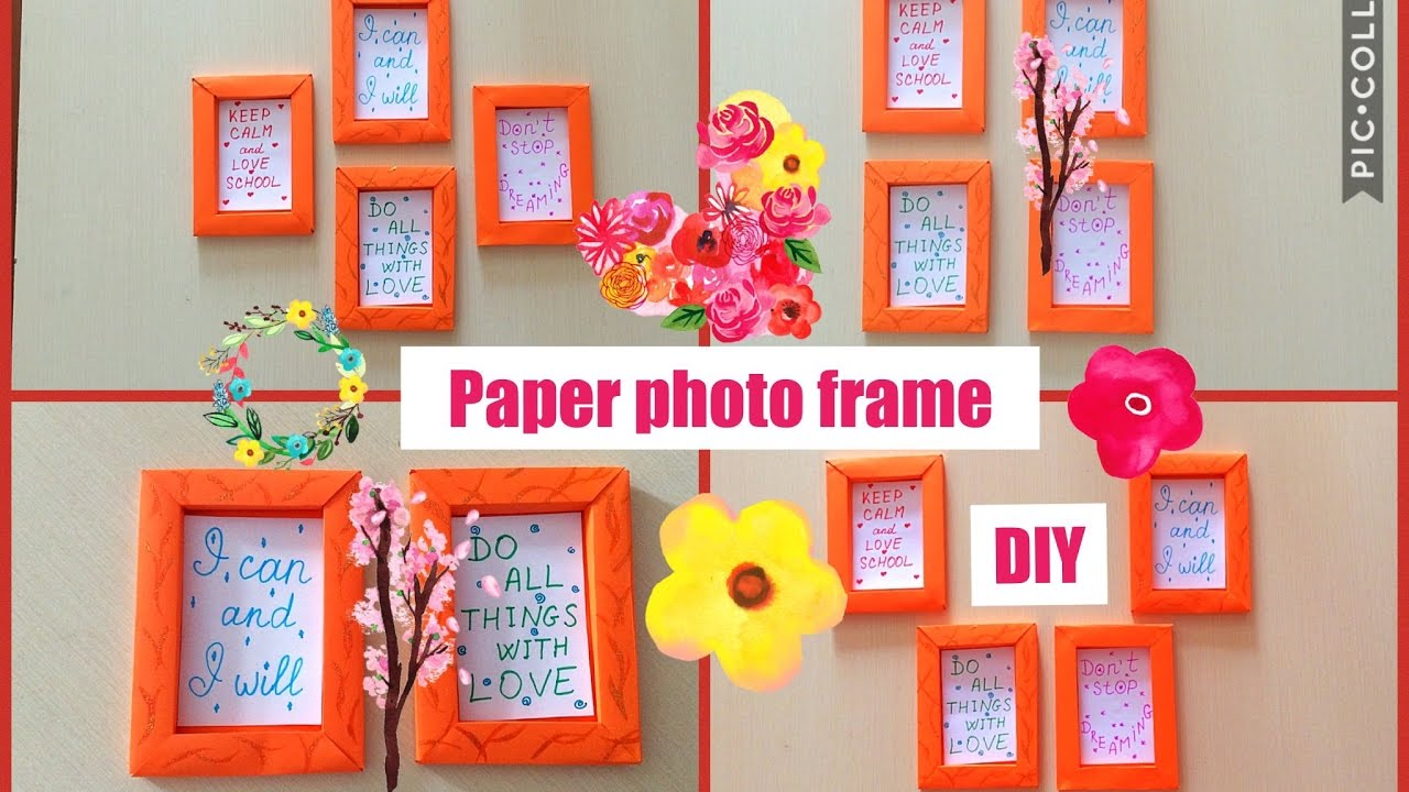 How To Make Paper Frame Photo Frame Diy Wall Decoration Home Craft Diy Youtube