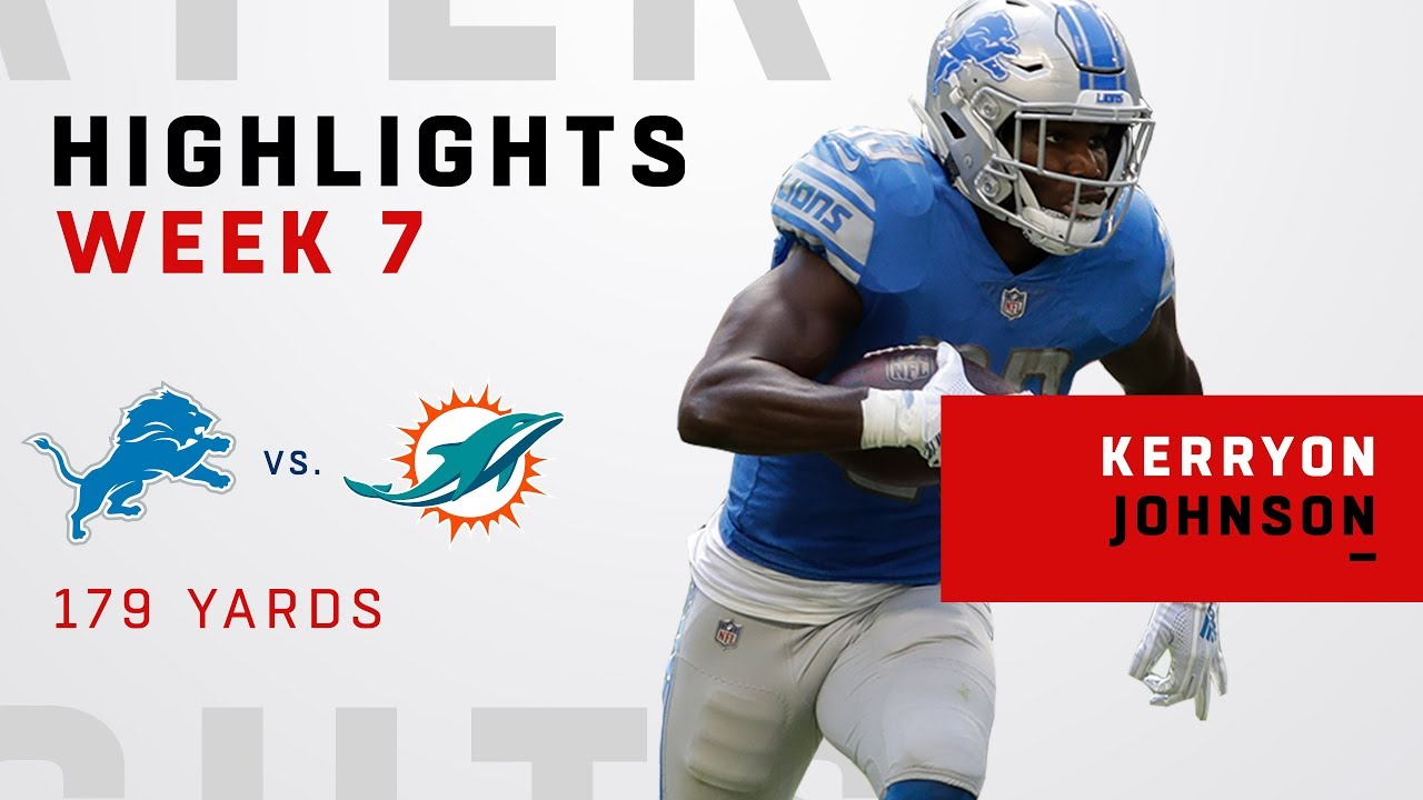 ed2ac02ae67 Kerryon Johnson's Huge Game w/ 179 Total Yards vs. Dolphins - YouTube