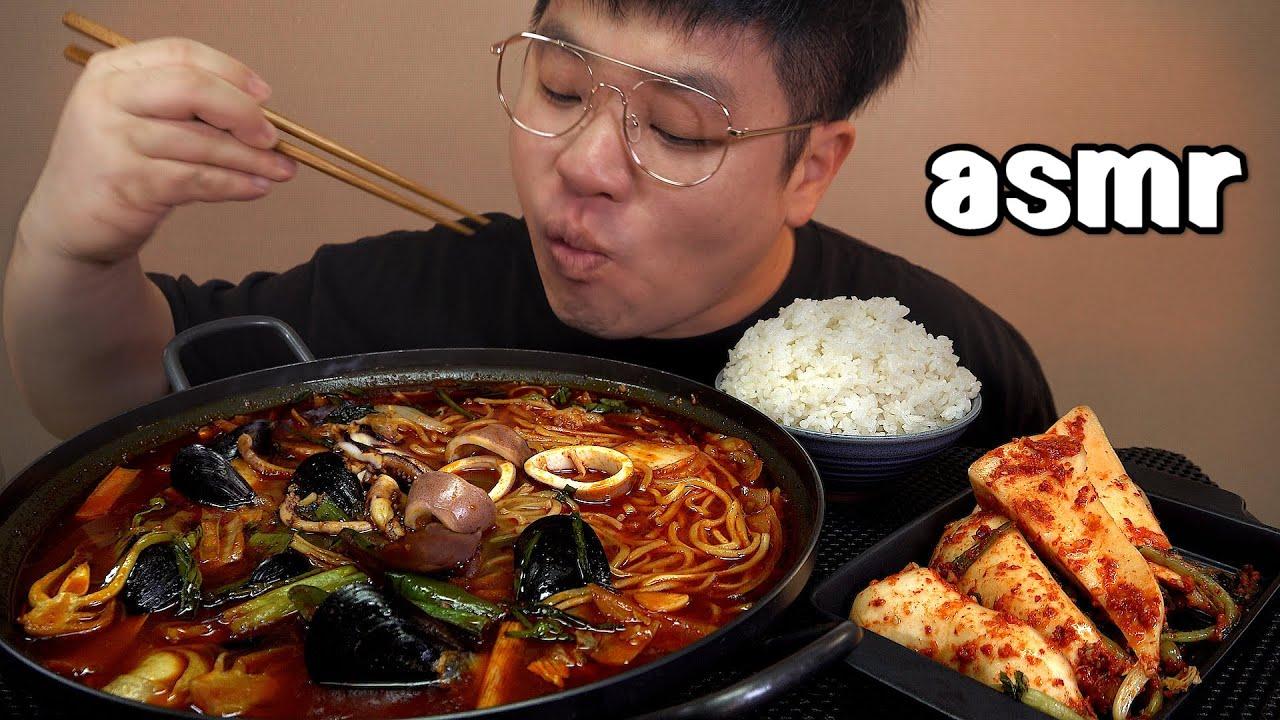 먹방창배tv 통오징어짬뽕 후딱 먹고 오늘은 후식까지 맛사운드 레전드 jjamppong a dessert after mukbang Legend koreanfood asmr