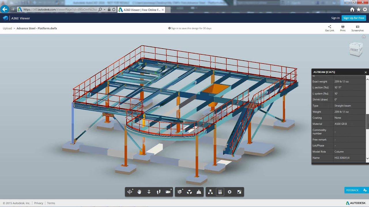 Advance Steel - Exporting models to A360 Viewer