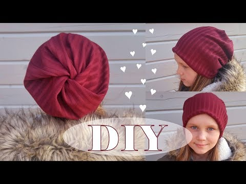 Beanie hat easy DIY. Twisted top! 10 minutes. No pattern