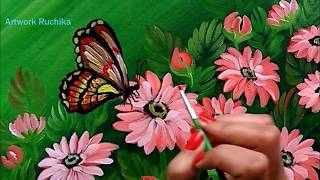 Beautiful Flowers and a Butterfly | Acrylic Painting Tutorial