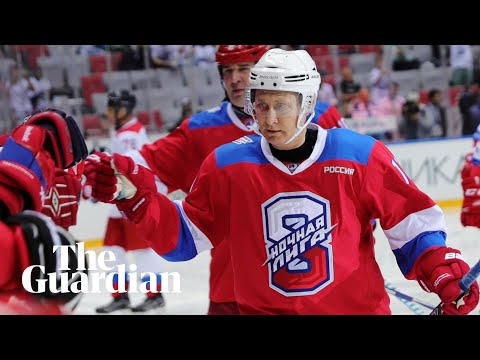 Vladimir Putin scores eight goals in ice hockey match then falls over on victory lap