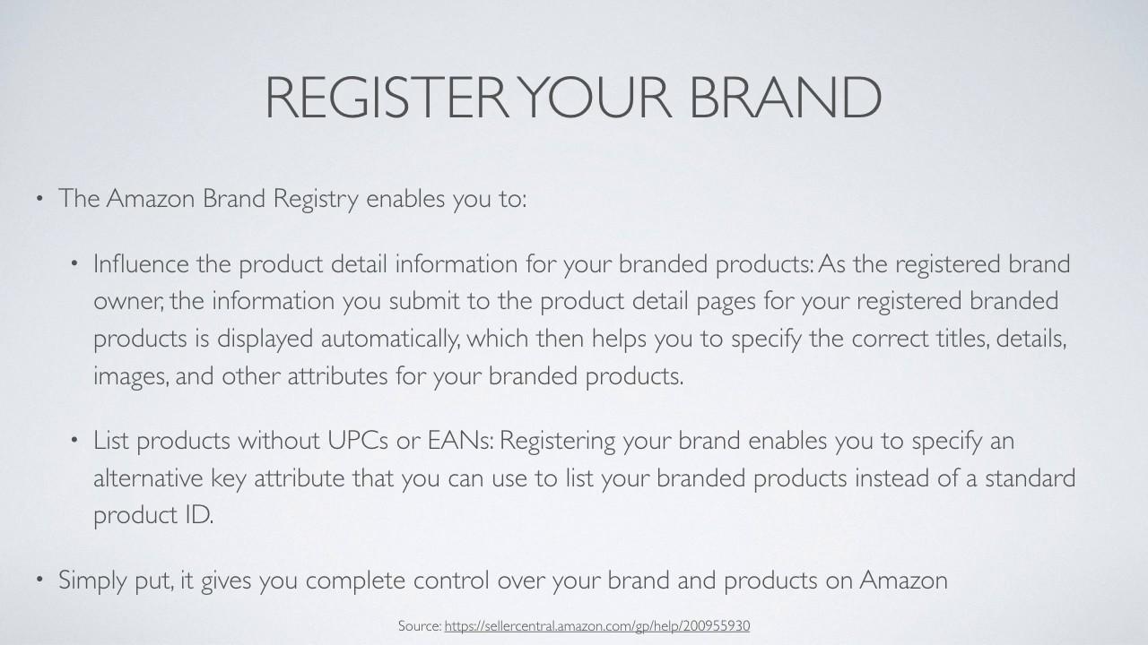 amazon brand registry list