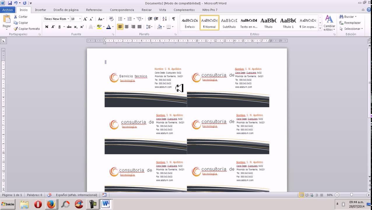 Como hacer una tarjeta de presentación en word 2007 2010 - YouTube
