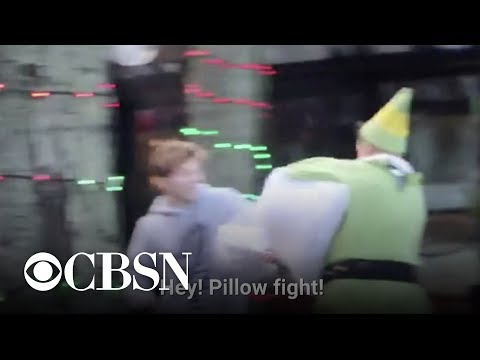 The Love Doctors - Guy Dressed As Buddy The Elf Starts Pillowfights!