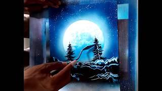Spray Paint Art TUTORIAL painting a night with spray (pintando una noche con spray)
