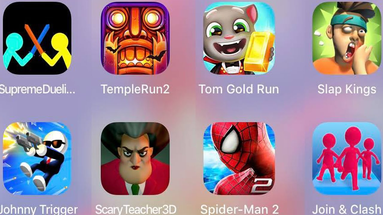 Download Slap Kings,Tom Gold Run,Spiderman Amazing,Join & Clash,Scary Teacher 3D,Johnny Trigger,Temple Run