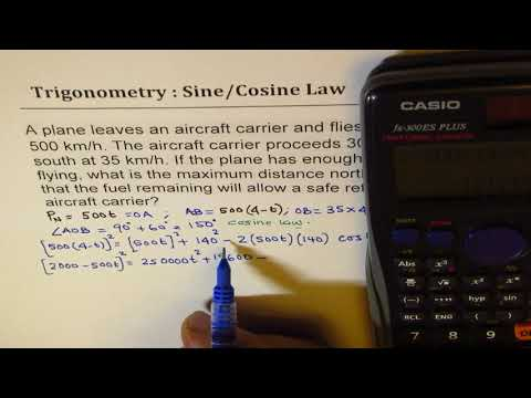 Cosine Law Application Time Plane Flies North to Return Aircraft Carrier