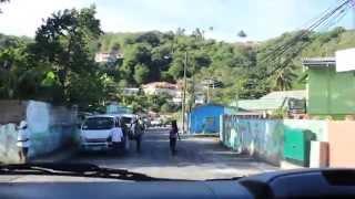 driving through Canaries, Saint Lucia + bridge