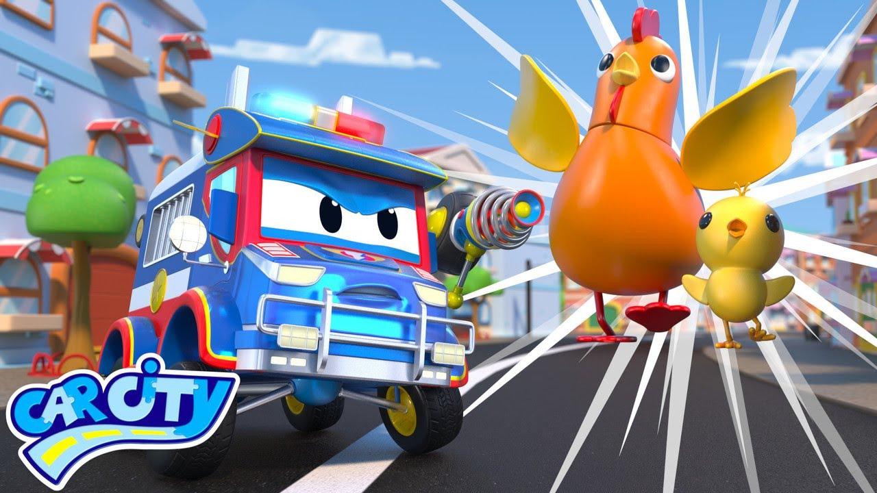 Oh no! GIANT ANIMALS attack Car City   SuperTruck - Rescue   Trucks Videos for Children