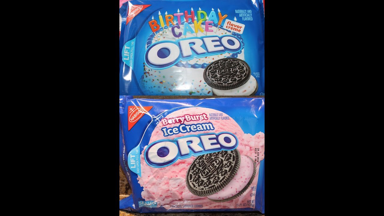 Birthday Cake & Berry Burst Ice Cream Oreo Review - YouTube