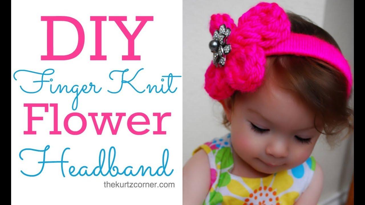 Finger Knitting Flowers : Diy finger knitting a flower headband youtube