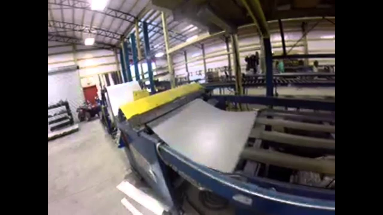 Manufacturing Metal Roofing Panels On A Rollformer Filmed With GoPro