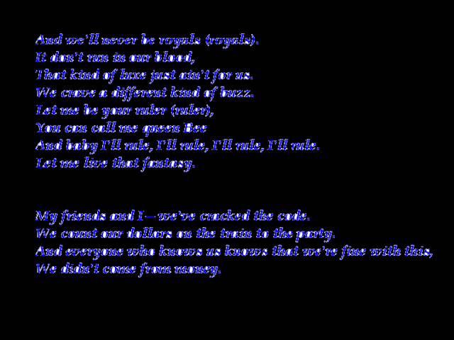 Royals lyrics Lorde