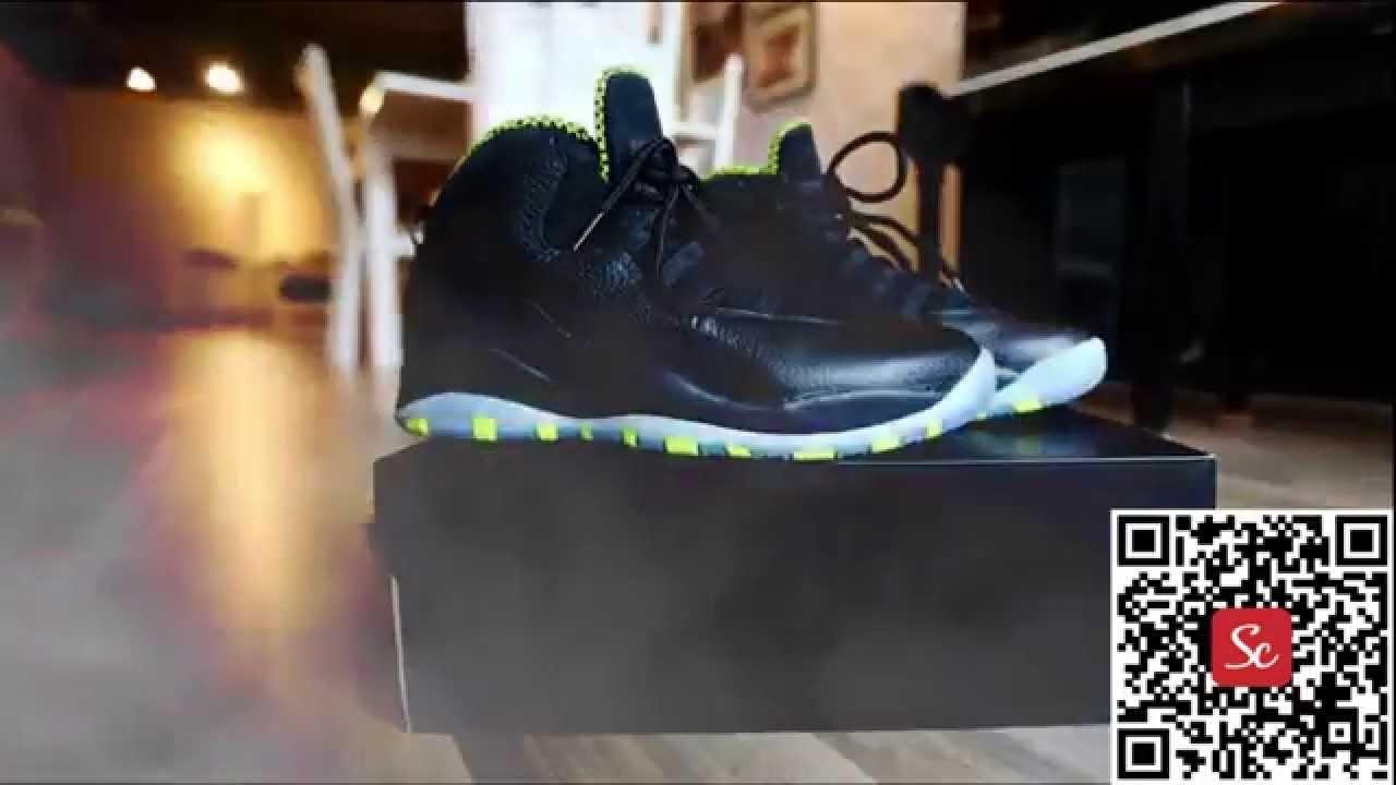 brand new 3f6cc 4613d SoleCool App Air Jordan 10 Venom Green on feet Review