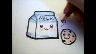 Drawing- Kawaii Milk and Cookie