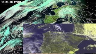 """Comparação do clima na Península Ibérica em April e Maio 2013 - Cor """"natural"""" vs E-view"""