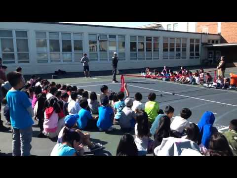 Harper for Kids Assembly with Coach Steve Jackson at Robert Louis Stevenson Elementary School