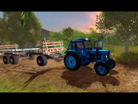 Farming Simulator 2017. Нестеровка. Трактор Беларус МТЗ-80. Прицеп  ПТС-12.