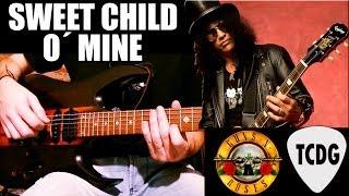 Como tocar SWEET CHILD O´ MINE en guitarra eléctrica / Tutorial en español para principiantes TCDG