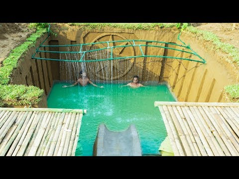 Build Swimming Pool Water Slide Around Secret Underground House - Part 2