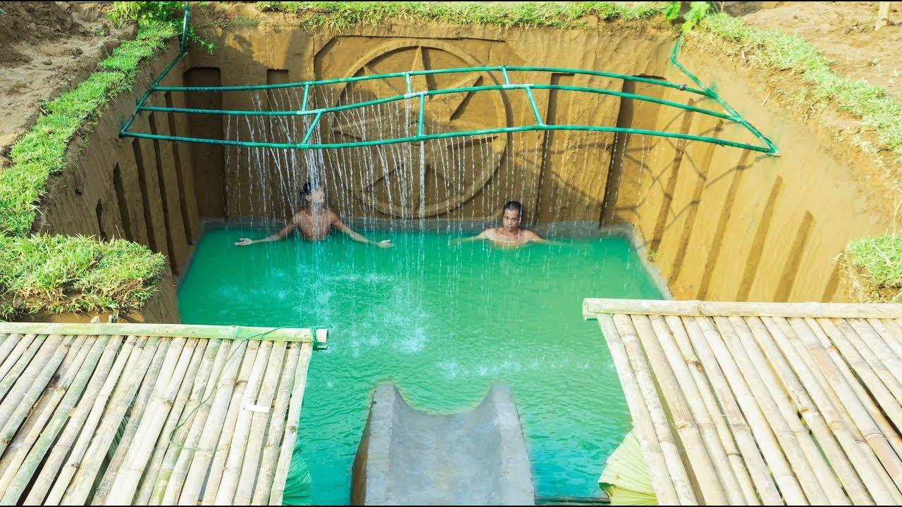 Build Swimming Pool Water Slide Around Secret Underground House - Part 2