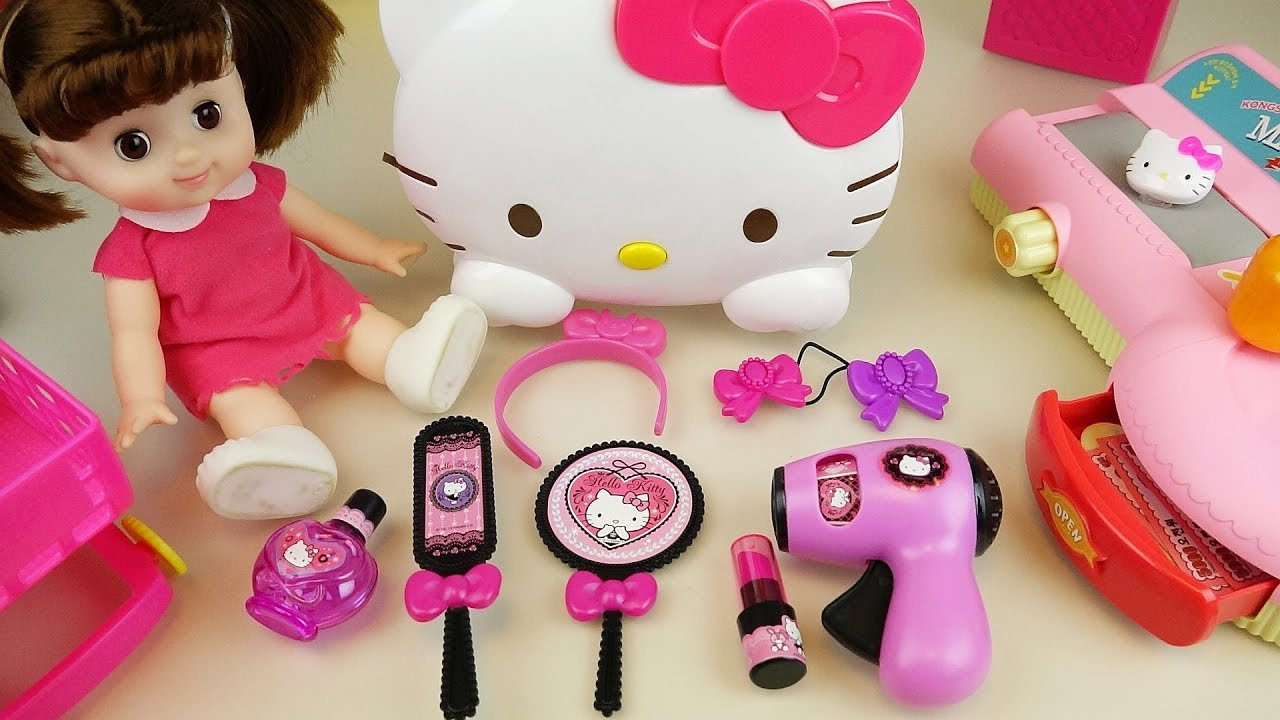 e8efed5c7 Hello Kitty hair shop mart register and baby doll toys play - YouTube
