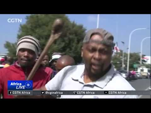 South Africa taxi drivers hold airport demonstration against Uber