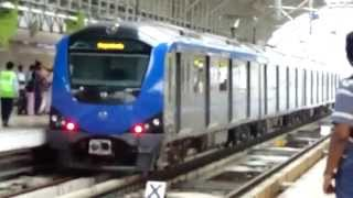 chennai metro koyambedu bound metro train arriving at cmbt