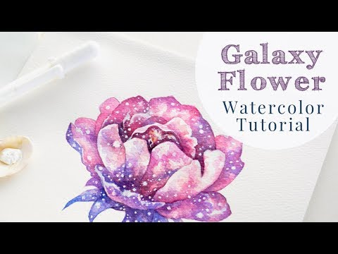 Flower Galaxy Art in Watercolor | Peony Painting Tutorial