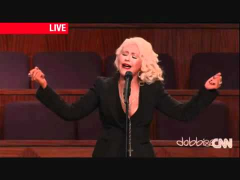 Christina Aguilera has period on stage.