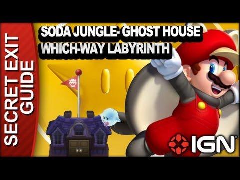 New Super Mario Bros U Secret Exit Walkthrough Soda Jungle Ghost House Which Way Labyrinth Youtube