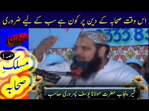 MOLANA HAFIZ YOUSAF PASRORI VERY NICE SPEACH (MASALIK E SEHABA R.A PART  1)