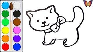 Как нарисовать КОШКУ / мультик раскраска КОШКА  для детей / Раскраски малышам