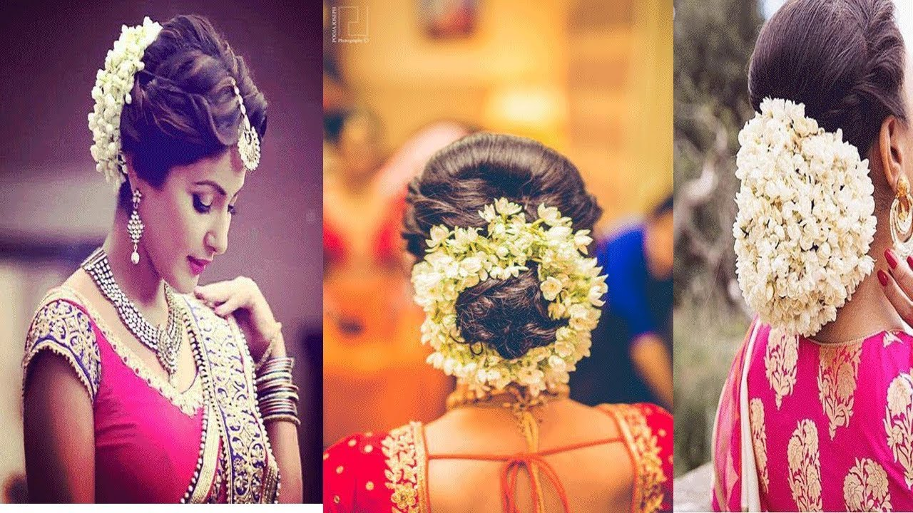 Latest Gajra Hairstyles For Wedding /Hair Bun With Flower ...