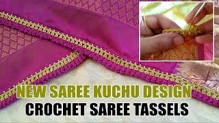 New Saree Kuchu Design | Crochet Saree Tassels - Full Tutorial | www.knottythreadz.com - 70221 57753