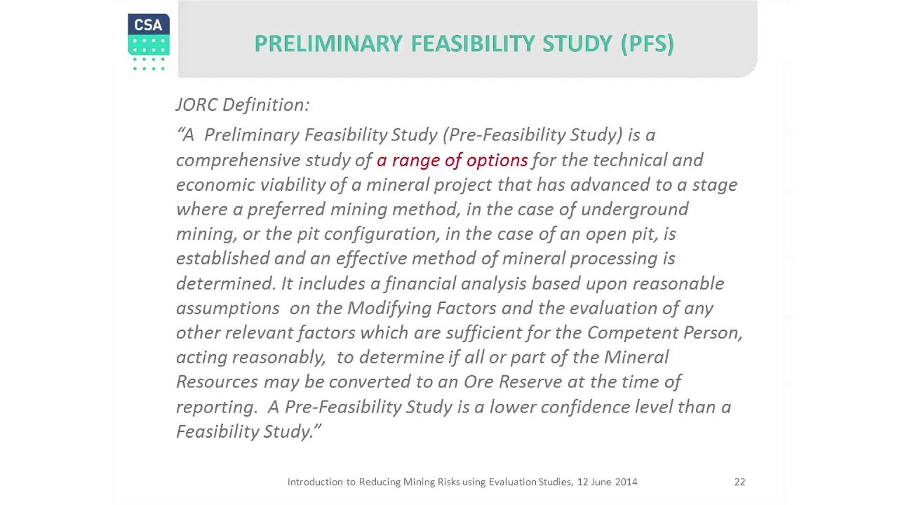 The Difference between Pre-Feasibility Study and ...